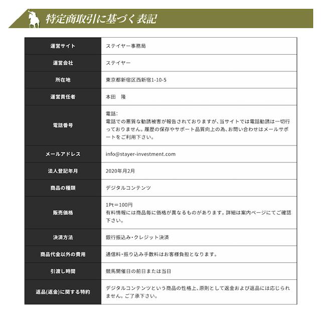 ステイヤーの特定商取引法