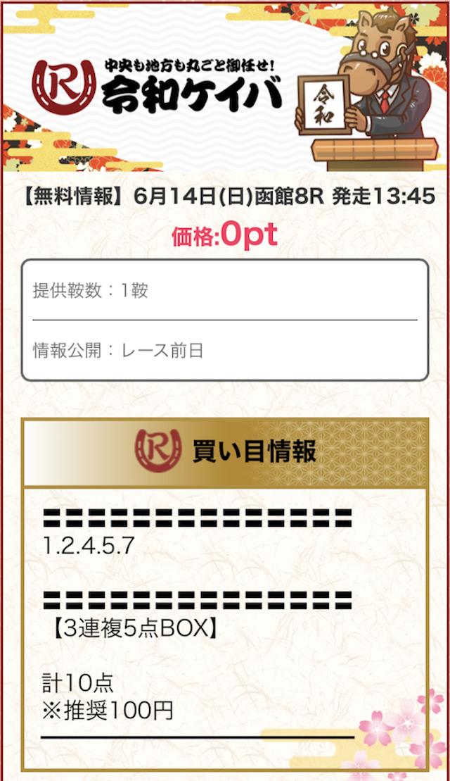 令和ケイバの無料予想0614