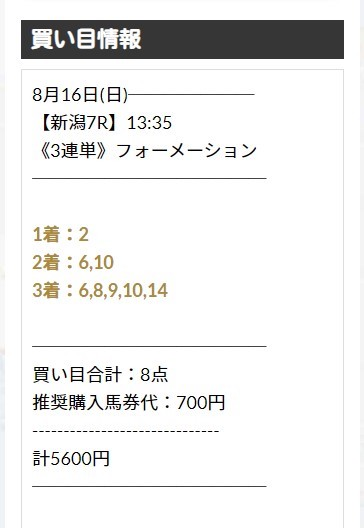 ユニコーン2020年8月16日有料予想LIMIT